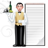Young waiter & writing pad