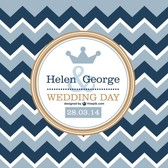 Retro wave pattern wedding card