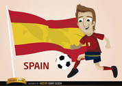 Spain football player with flag