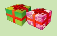 Two Cartoon Christmas Gift Box