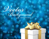 Blue Bokeh Background with 3D Xmas Gift Box