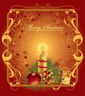 Christmas Greeting Card with Floral Frame
