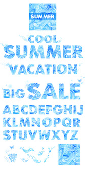 Blue Vector Graphic Letters Summer