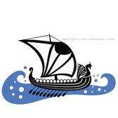 VIKING BOAT ON BLUE SEA VECTOR.eps