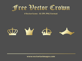 4 Golden Crowns in Flat Style
