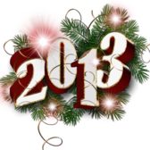 New Year 2013 Decoration With Red Stars PSD