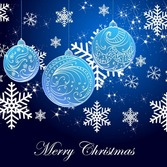 Snowflake Background and Blue Christmas Balls