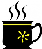 Yuri Black Cup With Yellow Flower