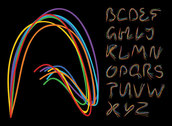 Lines of letters of the alphabet