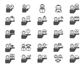25 Flat Descriptive People Vector Icons Set