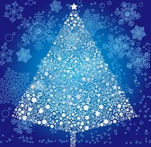 Abstract Christmas Tree with Snowflakes Background