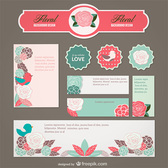 Floral Banners and Labels Vector Set