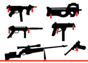 Collection of Rifles and Gun Shapes Hanging on the Wall