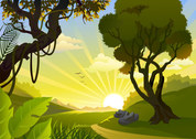 Vector cartoon landscape background