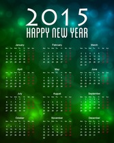 Calendar 2015 with Bokeh Background