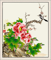 Peony Flower Painting Vector Magpie