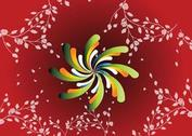 Red Floral Spiral Background
