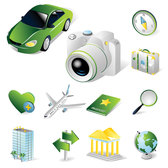 Thematic Vector Icons Tourism Icon Baggage Car Camera Compass Magnifying Glass Heart Visa Aircraft Earth Vector Hotel Signpost Arrow