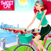 Vector Fashion Girls Cycling