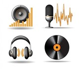 4 Music Related Retro Vector Icons Set
