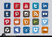 Social media square embossed icons set