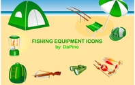Fishing Equipment Icons Fishing Binoculars Tent