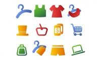 12 Simple Clothes Shopping Vector Icons Set