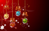 Multicolor Hanging Xmas Balls on Red Background