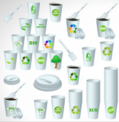 Colorful paper cup vector set