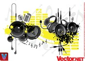 Music Equipement Vector - Microphone Vector, Headset Vector, Audio Vector Earphone