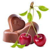 Heart-shaped vector material of chocolate and cherries