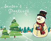 Vector Snowman with christmas tree and gifts