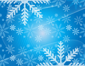 Christmas Blue Vector Background with Snowflakes and Flowing Lines