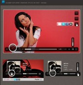 Elegant Textured UI Video Player PSD