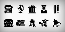 10 Useful Education Icons Set PNG/PSD
