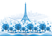 Blue Paris Vector Background Design