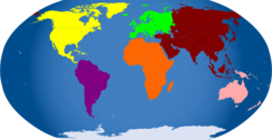 Continents colored