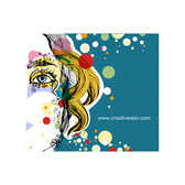 Woman's Face Abstract Colorful Circles Graphic