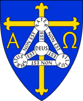 Coat of arms of Anglican diocese of Trinidad - includes Christian symbols of Cross, Alpha and Omega, and Shield of Trinity