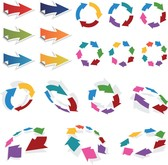 Colorful 3D Vector Arrows Set