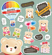 Cute cartoon sticker vector-5