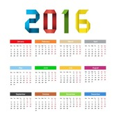 Calendar 2016 Year Colorful Design