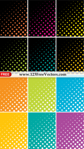Colorful Halftone Dots Background Vector Pack