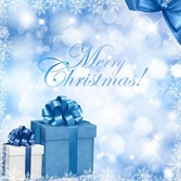 Christmas Blue Background with Gift Box and Snowflake