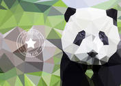 Free Polygon Geometric Panda Bear Wallpaper