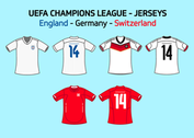 UEFA Team Jerseys England Germany Switzerland Vector Free