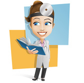 Female Doctor Vector Character Holding a Book