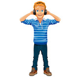 Boy Vector Character with Headphones