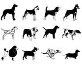 Black & White Breed Dog Silhouette Pack