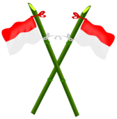 Bamboo and Indonesian flag-2